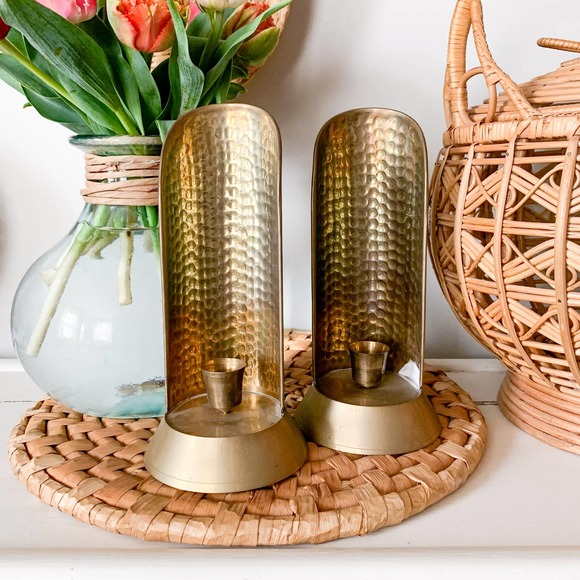 Vintage Brass Textured Candle Holders (Set of 2)